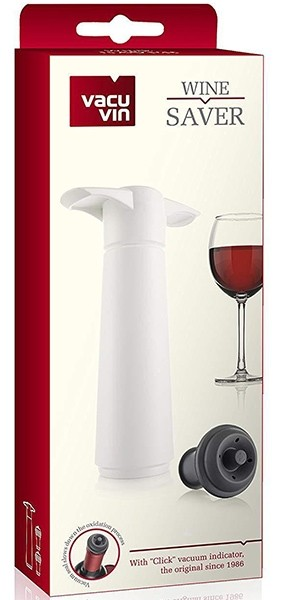 Vacu Vin Wine Saver Vacuum Pump Set with 2 Stoppers (white)