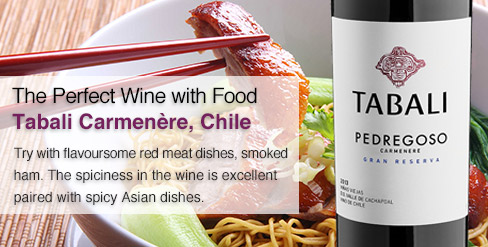 The perfect wine with food, Tabali Carmenere, Chile